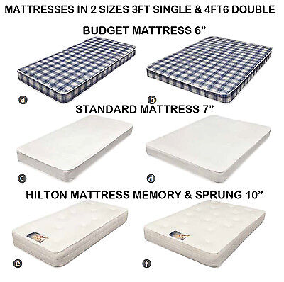 "3FT Single & 4FT6 Double Bed Mattress Budget 6"", 7"" & 10"" Memory Foam Sprung"
