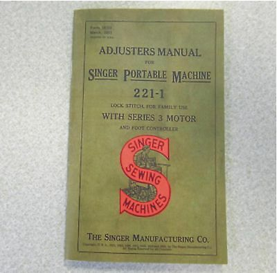 SINGER Featherweight 221 Machine Shop Repair ADJUSTER'S Service Servicing Manual