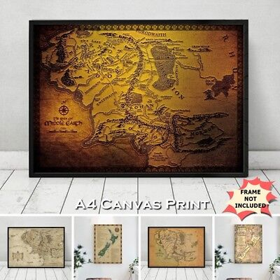 Lord Of The Rings Canvas Map Middle Earth New Zealand Film Location Print A4 UK