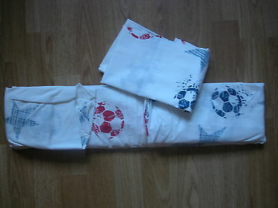 NEXT FOOTBALL Fitted Sheet & 1 Pillowcase SINGLE Size GOES bed set CURTAINS NEW