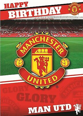 MANCHESTER UTD Happy Birthday SOUND MUSICAL Man U Childrens Dads Birthday Card