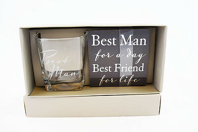 Best Man Whiskey Glass & Coaster Gift Set Wedding Day Favour From Groom Present