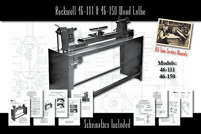 Rockwell 46-111 14/11 & 46-150 Wood Lathe Service Owner's Manual Parts List