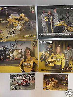 Lot of 6 NHRA Pro Stock Motorcycle Champion Angelle Autographs on Handouts & Pic