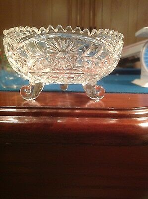 "4.5"" 3-Footed Cut Glass Candy Dish Daisy Pattern Serrated Top; Beautiful!!!"