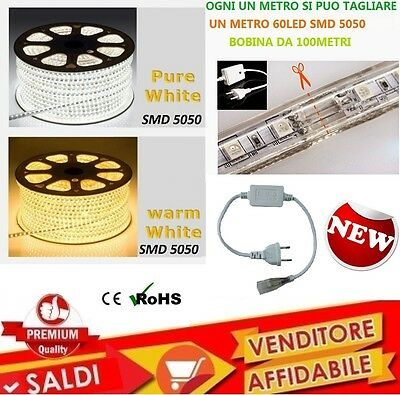 Striscia Led Flessibile Strip Led 5050 Interno Esterno 220V Bobina Da 1 A 100 M.