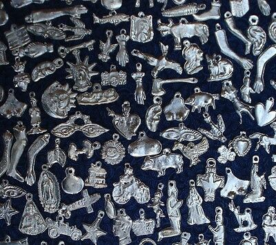 Milagros Charms 50  Silver Tone Milagro Charms Day Of Dead Ex voto Nicho