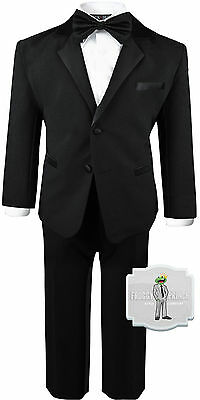 Baby Boys Black Tuxedo Bow Tie Size Ring Bearer (3-24 Months) 2T 3T 4T 5 6 7