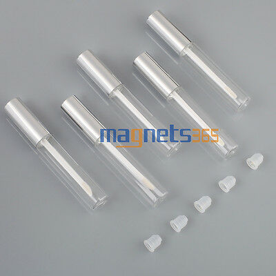 5x10ML argent vides en plastique PET transparent Lip Gloss Tube Balm bouteille