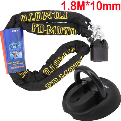 CHAIN LOCK HEAVY DUTY Motorbike Motorcycle Pad Lock 1.8M + Oxford Ground Anchor