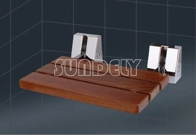 Wall Mounted Solid Wood TEAK Folding Shower Seat Wooden Bathroom Mobility Aid