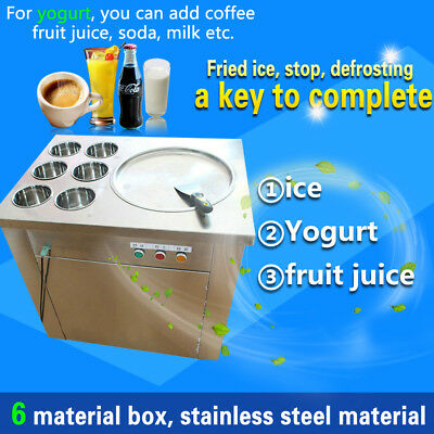20% off,yogurt fruit fried ice cream machine,ice cream machine with 1 pan 6 box