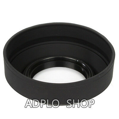 Three-in-one 72mm 72 mm Collapsible Rubber Lens Hood