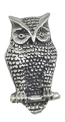 Owl Handcrafted From English Pewter Lapel Pin Badge + Gift Bag