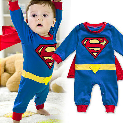 Toddler Superman Long Sleeve Baby Dress Infant Romper Jumpersuit Cotton