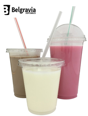 12oz Disposable Plastic Smoothie Milkshake Cups with Optional Lids & Straws