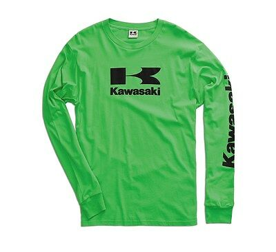 Kawasaki Stacked Logo L/S T-Shirt in Kawasaki Green - Size XX-Large - Brand New