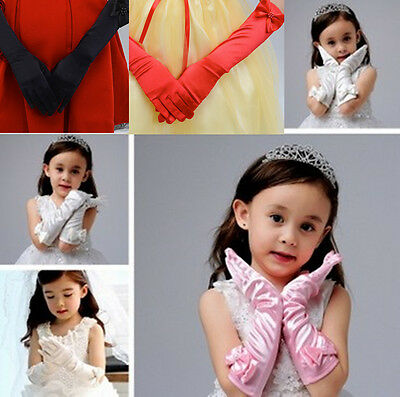 Children's Stretch Satin Gloves Elbow Opera Long Evening Party Prom Fancy Costum