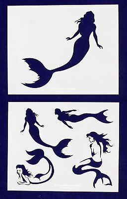 Mermaid Stencils-2 pc Set-14 Mil Mylar- Painting/Crafts/Template