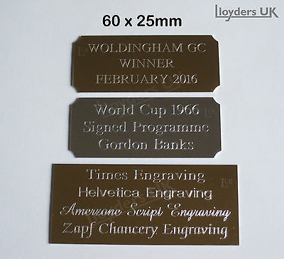 Engraved Trophy Plaque, 60 x 25mm, Engraved Trophy Plate Award Diamond Engraving