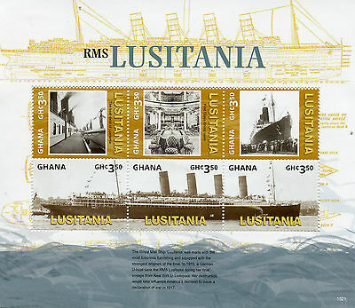 Ghana 2015 MNH RMS Lusitania WWI 6v M/S Boats Ships First World War One