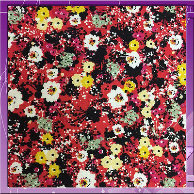 100% Rayon Challis Small Flower  Floral Red 58 Wide Fabric Sold Bty
