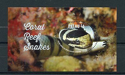 Palau 2015 MNH Coral Reef Snakes 1v S/S Reptiles Yellow-Lipped Sea Krait