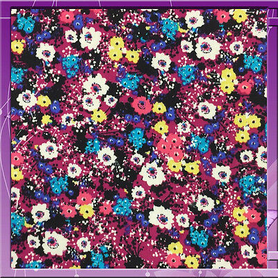 """100% Rayon Challis Small Multicolor Flower / Floral Print 58"""" Wide Fabric"""