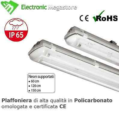 Plafoniera Stagna 1/2 Neon Led Tubo T8 G13 60-120-150 Cm 220V Soffitto Ip65