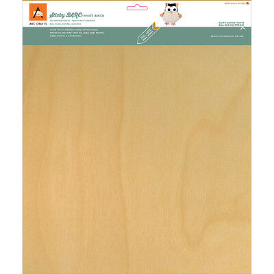 "BARC Wood Sheet W/Adhesive Backing 12""X12"" White Birch ARCBS71"