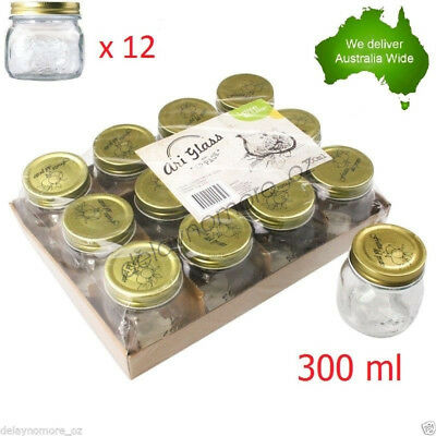 12 x Glass Jam Jar with Top lid 300ml Storage mini wedding party Food Jars VIC