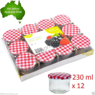 12x 230ml Glass Screw Top Jam Jars w/Red Lids Lolly Jar Party Storage Containers