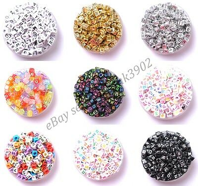 100Pcs Cube Acrylic Mixed Alphabet Letter Coin Square Flat Spacer Beads DIY Pick