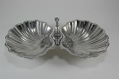 Vnt Ornate Silver Plate Sea Shell Shaped Caviar Serving Nut Candy Dish Bowl Duo