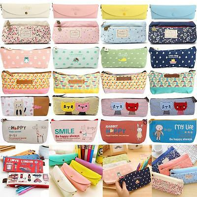 Various Zipper Pencil Pen Case Stationery Cosmetic Make Up Bag Storage Pouch Hot