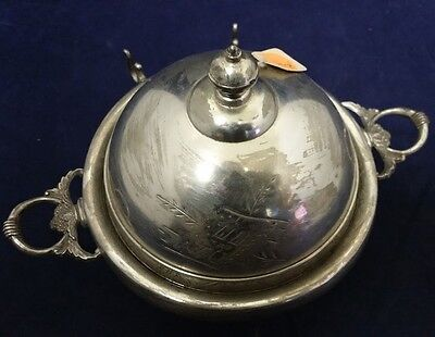 Beautiful Antique Covered Butter Dish Hartford Quadruple Silverplate