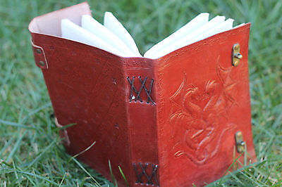 Double Lock Dragon Hand Made Leather Journal Book Of Shadows Wicca Pagan Diary