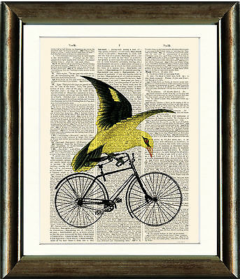 Dictionary Book page Art Print - Bird on a Bicycle