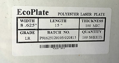 """Polyester plates / Laser Plates 8.625 x 15"""" ECO PLATE"""