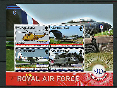 Montserrat 2008 MNH RAF Royal Air Force 90th 4v M/S II Helicopters Stamps