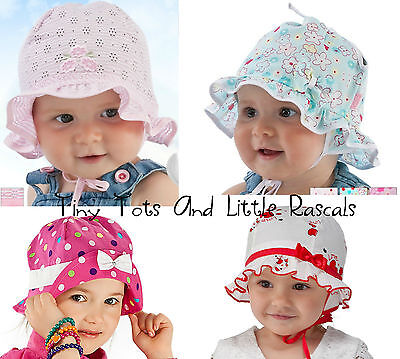 Infant Girls Toddlers Summer Hat Bonnet Holiday Beach Cap Size 0 mths - 6 years
