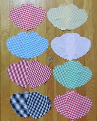 16 GINGHAM HEARTS VINTAGE Pre-Cut Cotton Fabric Applique Quilting Crafting