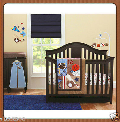 NEW Baby Nursery Bedding Set 7pcs Quilt Bumper Fitted Sheet