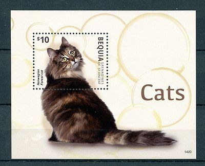 Bequia Grenadines St Vincent 2014 MNH Cats 1v S/S II Pets Norwegian Forest Cat