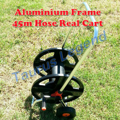 """Classic Wheeled Garden Hose Reel Trolley Cart Holds 45m 1/2"""" 12mm Water Hose"""