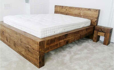 Chunky Wood Rustic 'Sleeper Bed Low Foot End' Double King Super Bed Frame