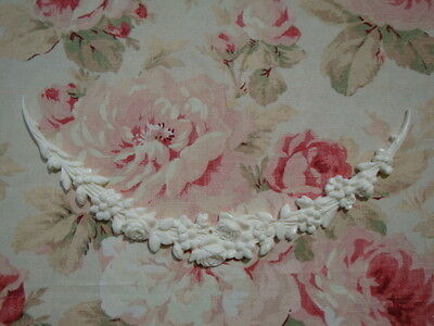 Cottage Chic Floral Roses Garland Swag Furniture Applique Architectural Pediment
