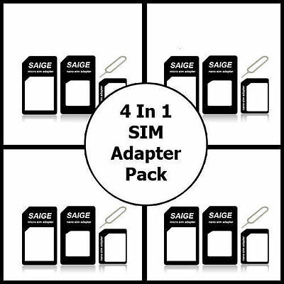 SIM Adapter Converter Resizer & SIM Pin Ejector For LG G3 HTC M8 & All SIM Sizes