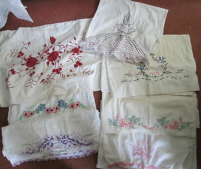 Antique Victorian Hand-Embroidery Pillow Covers- -Beautiful Vintage