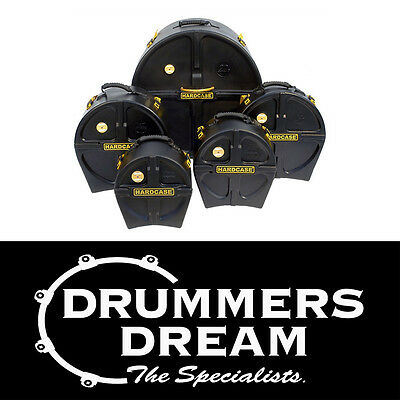 "HARDCASE 5pc Drum Case Set Pack - ROCK  Sizes 10"" 12"" 16"" 22"" 14""Sn Brand NEW"